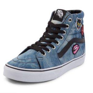 Vans SK8 Hi Skate Acid Denim W/ Patches Shoes